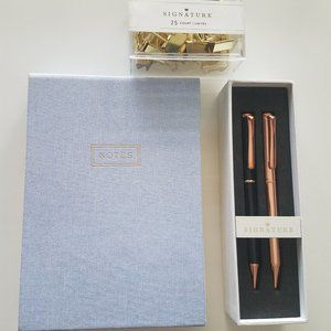 Hallmark Notepad with 2 pens and gold clips